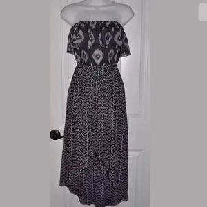 Anthropology SWEET PEA size L Gray Geo Hi-Lo Dress
